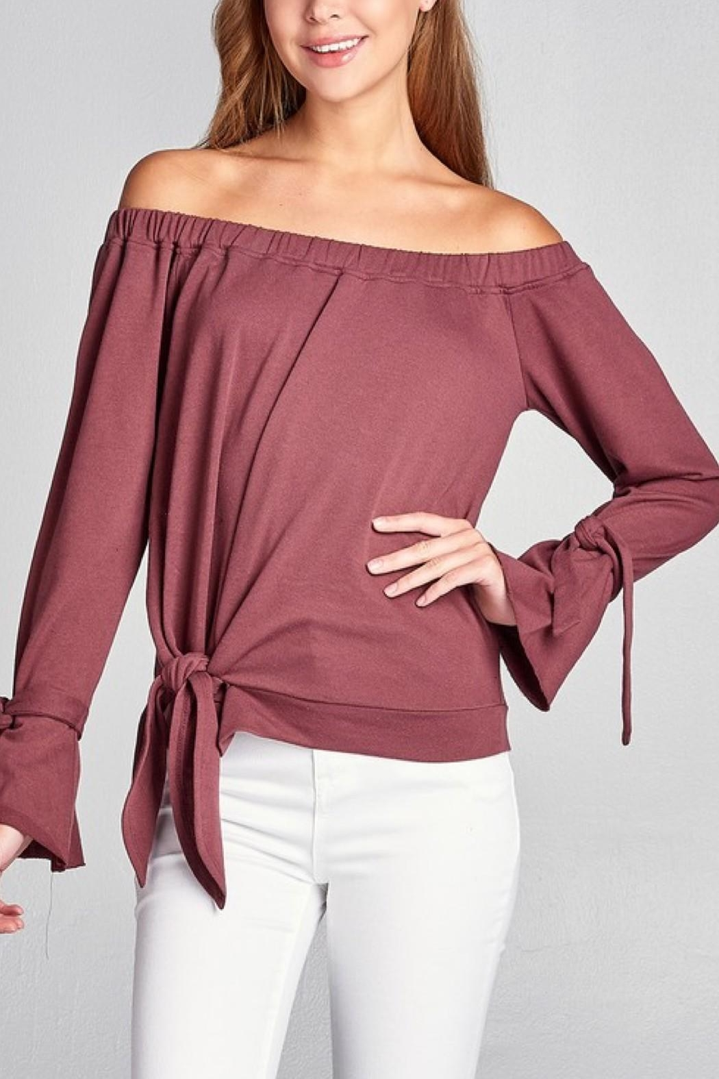 Active Off Shoulder Sweater - Front Full Image