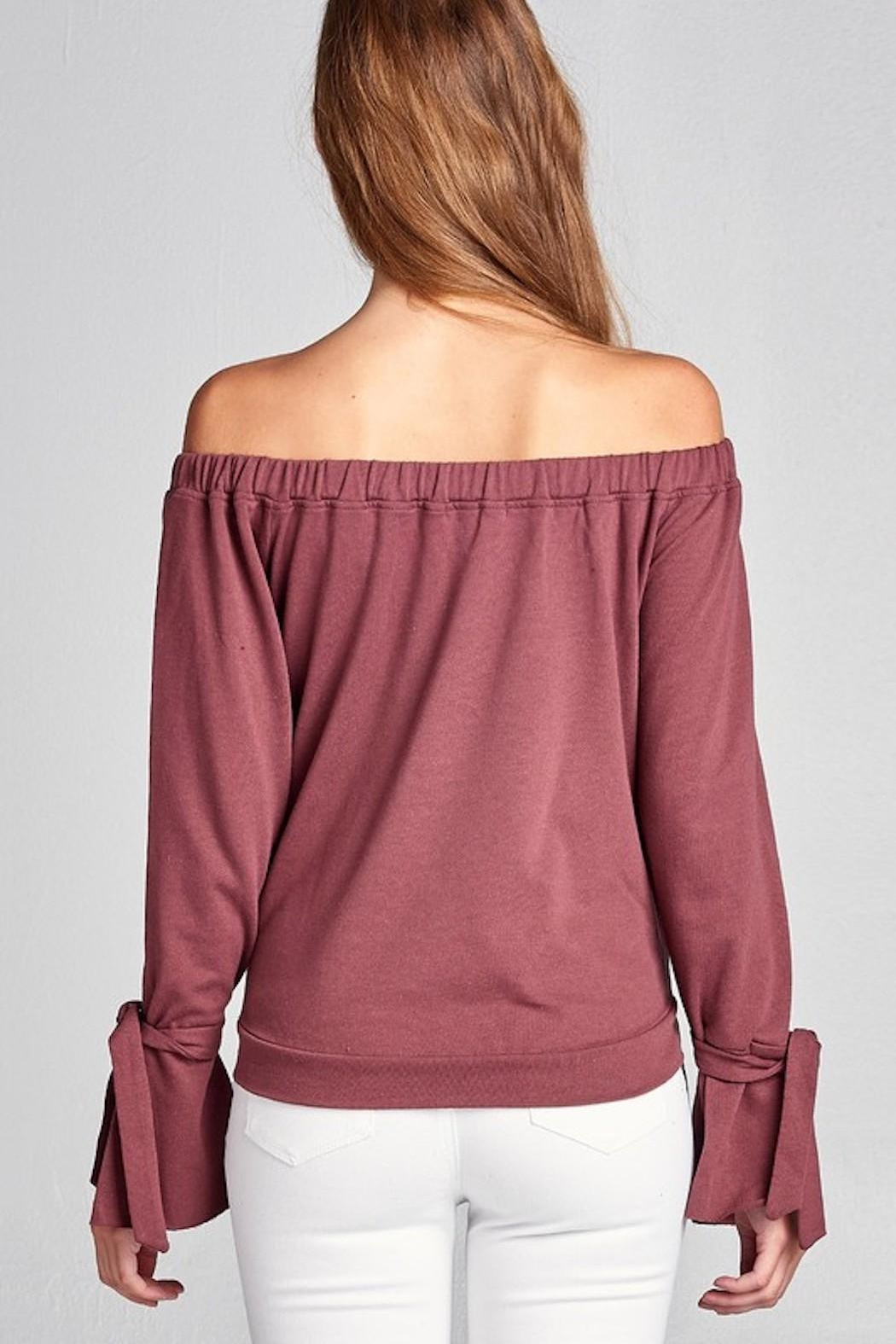 Active Off Shoulder Sweater - Back Cropped Image