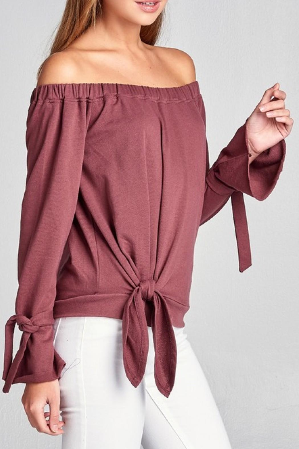 Active Off Shoulder Sweater - Front Cropped Image