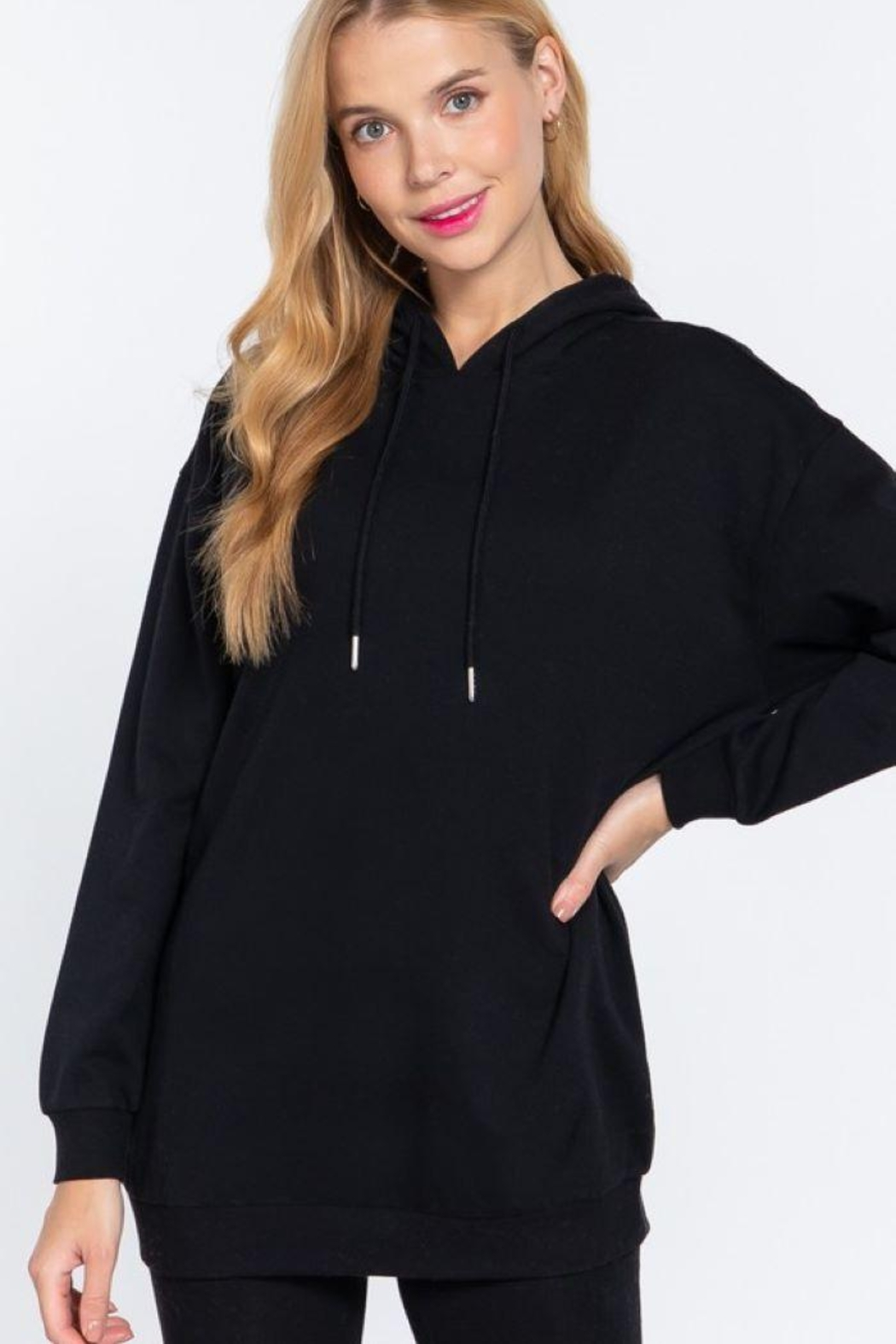 Active Oversized Longsleeve Tunic Hoodie - Front Cropped Image