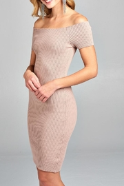 Active Ribbed Off The Shoulder Dress - Product Mini Image