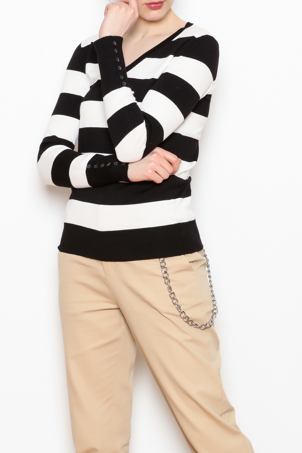 Active USA Striped V-Neck Sweater - Front Full Image