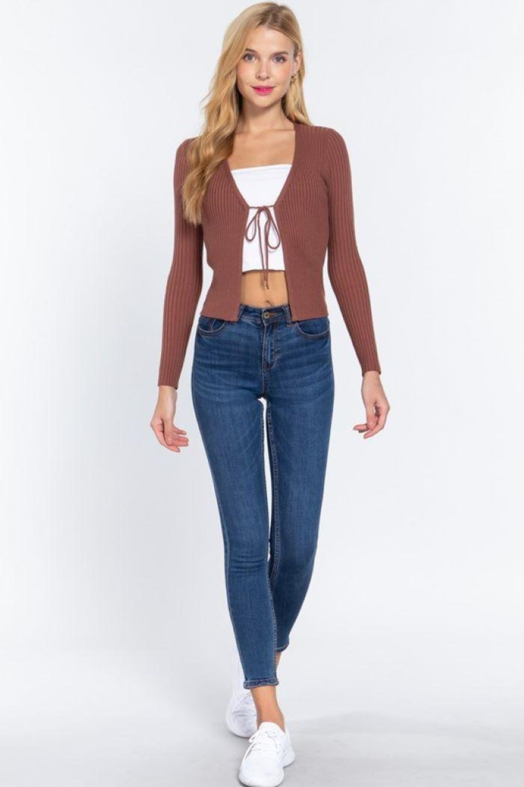 Active V-Neck Front Tie Sweater Cardigan - Back Cropped Image