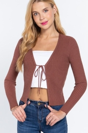 Active V-Neck Front Tie Sweater Cardigan - Product Mini Image