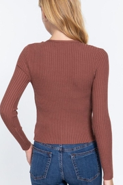 Active V-Neck Front Tie Sweater Cardigan - Side cropped