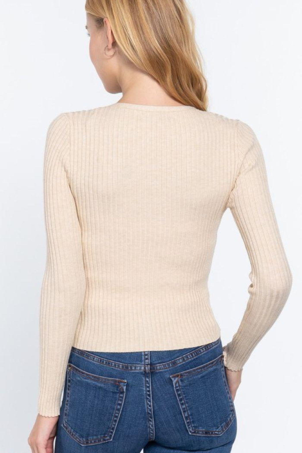 Active V-Neck Front Tie Sweater Cardigan - Front Full Image