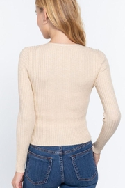 Active V-Neck Front Tie Sweater Cardigan - Front full body