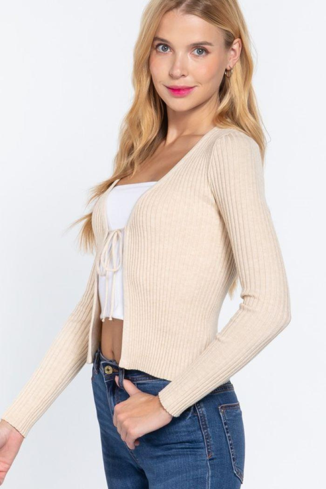 Active V-Neck Front Tie Sweater Cardigan - Side Cropped Image