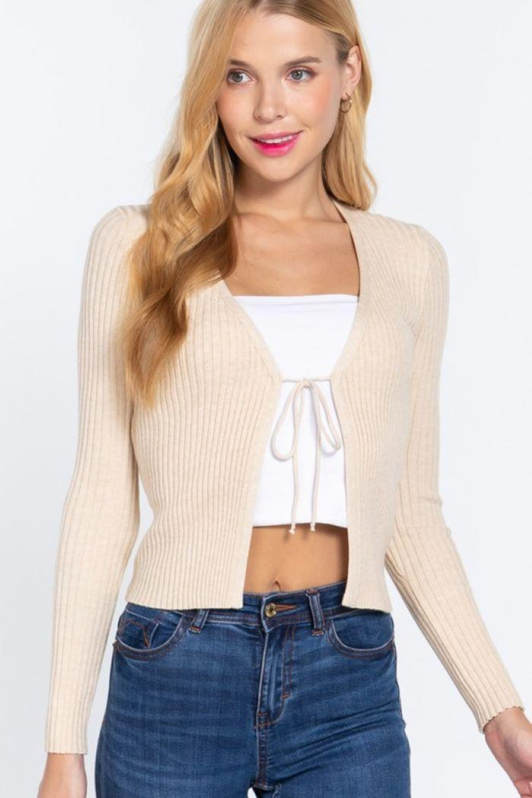 Active V-Neck Front Tie Sweater Cardigan - Main Image