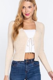 Active V-Neck Front Tie Sweater Cardigan - Front cropped