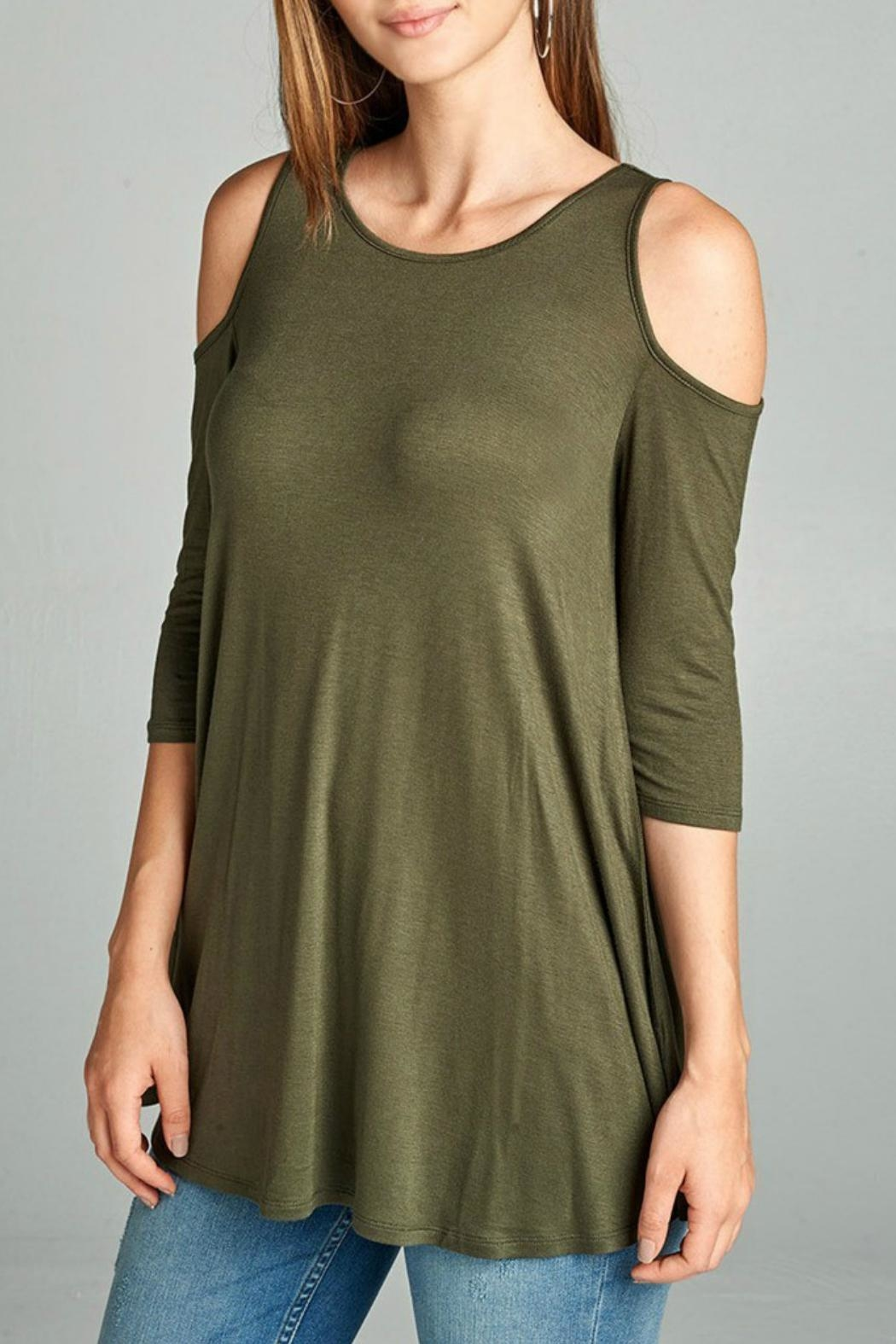 Active Basic Basic Cold Shoulder Top - Main Image