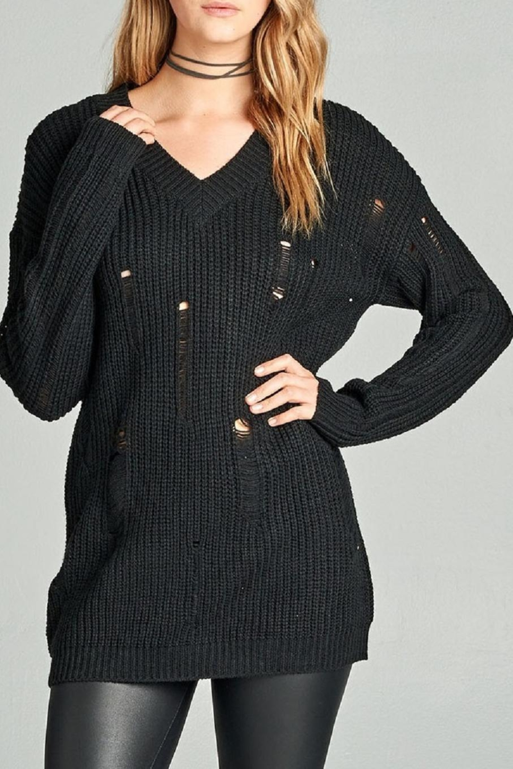 abfe9c8eff6 Distressed Black Sweater Sweater has distressed sleeves and the