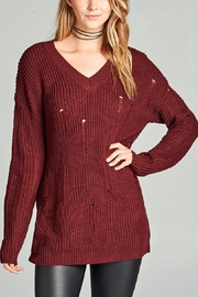 Active Basic Burgundy Distressed Sweater - Front cropped