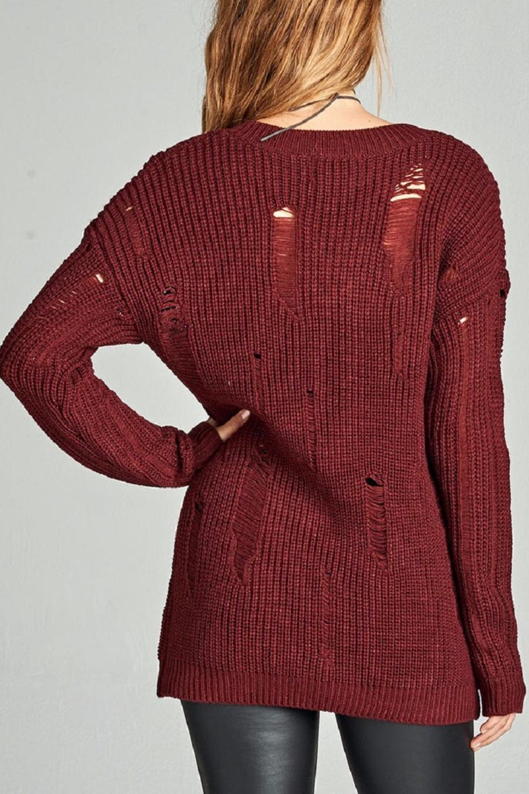 Active Basic Burgundy Distressed Sweater - Front Full Image