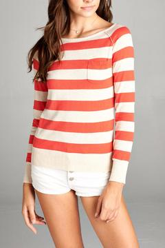 Active Basic Coral Striped Sweater - Alternate List Image