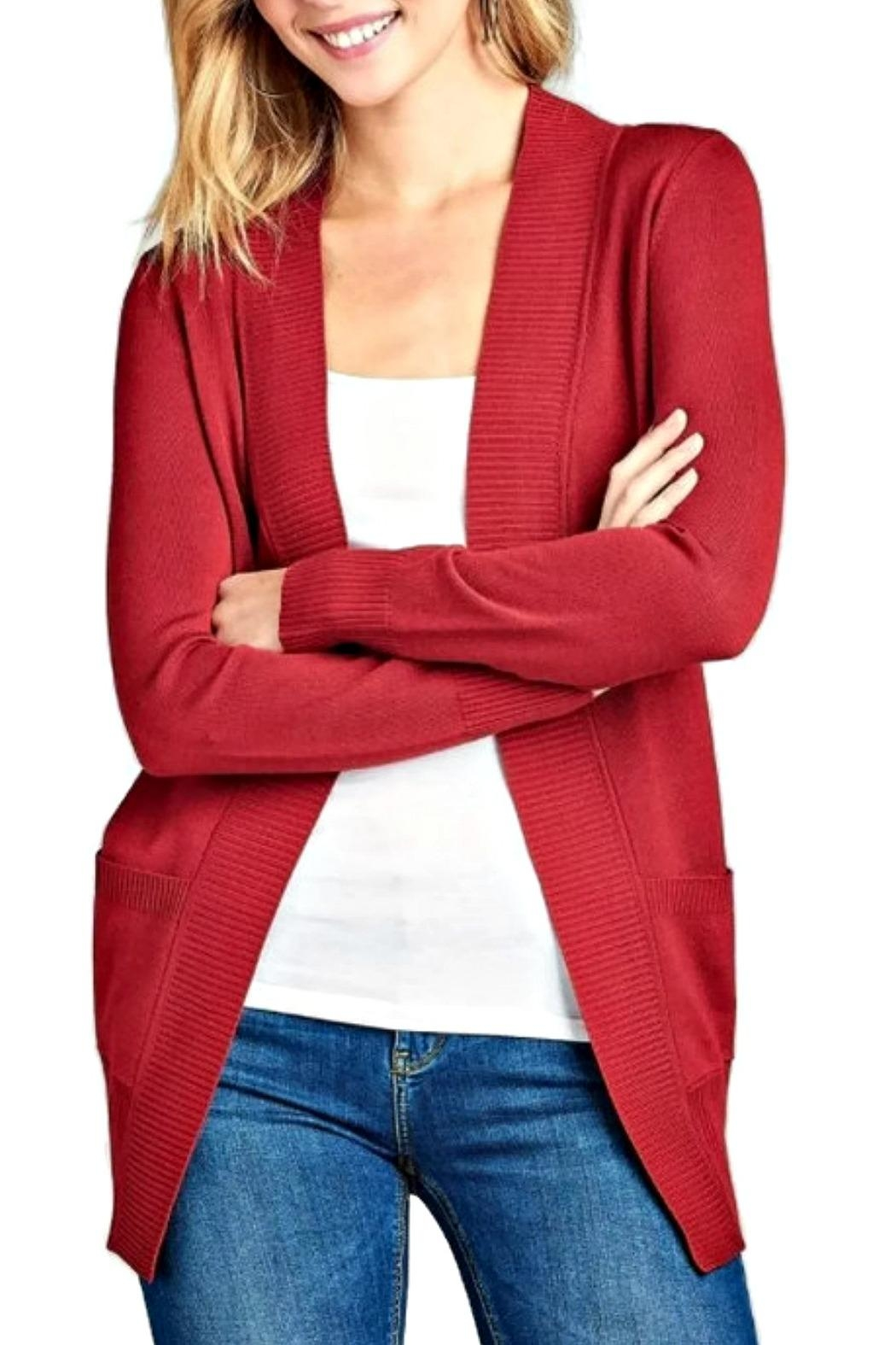 Active Basic Cranberry Open Cardigan - Main Image