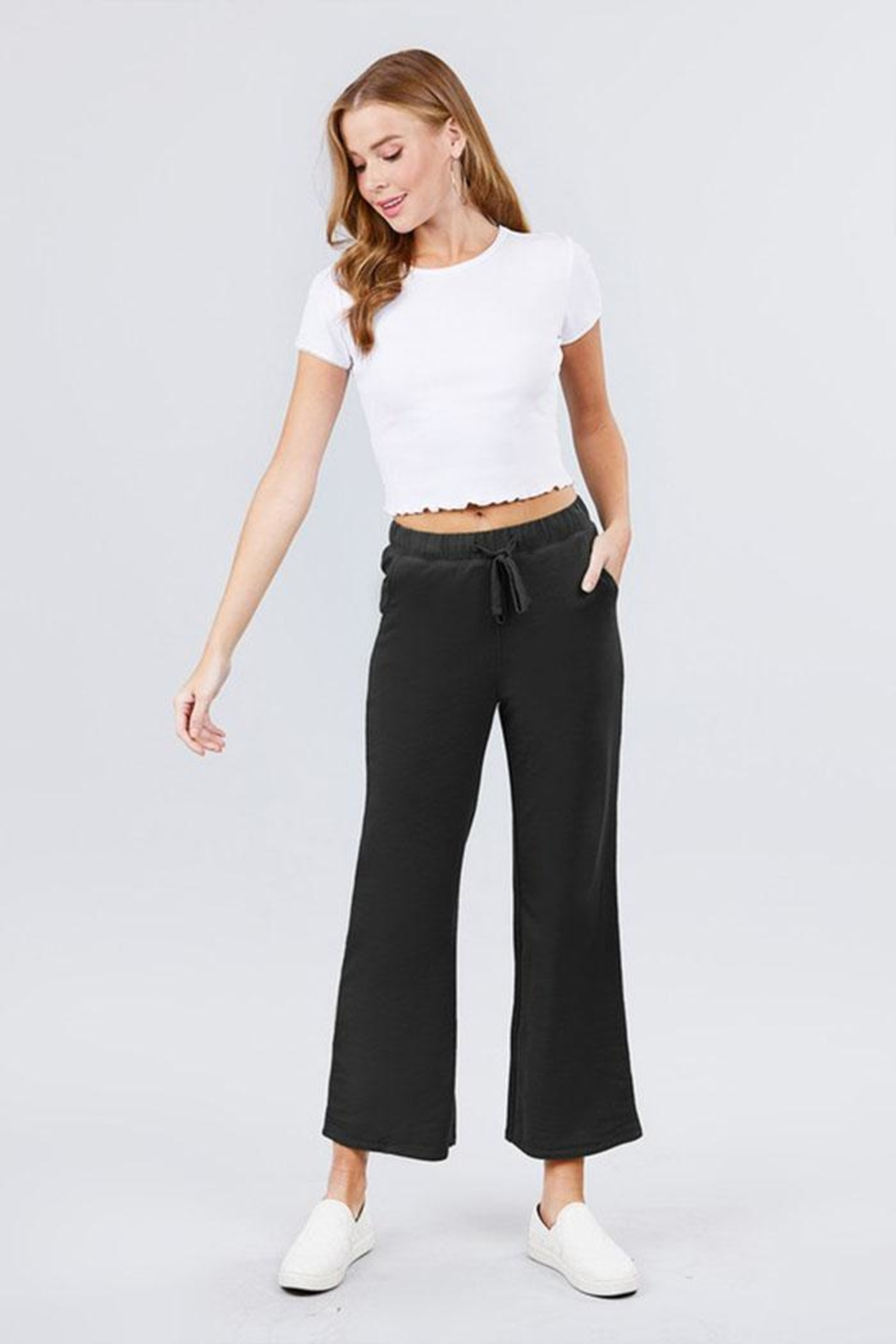 Active Basic Cropped Flare Sweatpants - Front Cropped Image