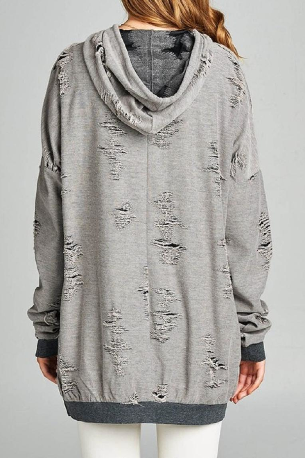 Active Basic Distressed French-Terry Hoodie - Side Cropped Image