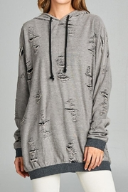 Active Basic Distressed French-Terry Hoodie - Front full body