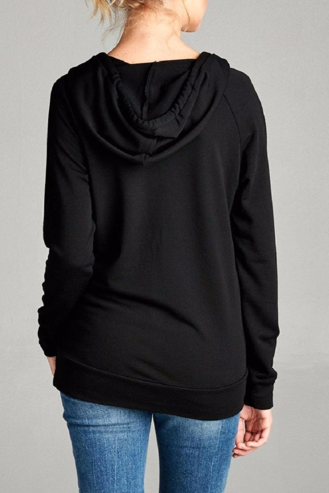 Active Basic Hooded Knit Top - Side Cropped Image