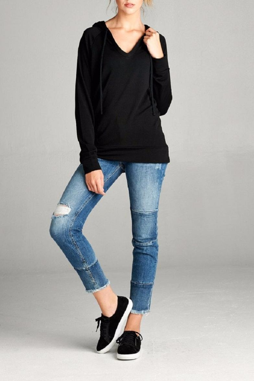 Active Basic Hooded Knit Top - Front Full Image