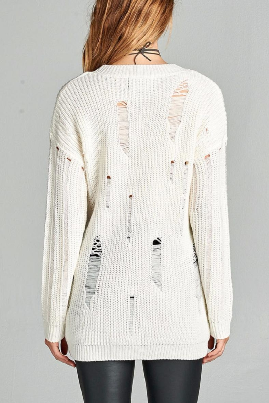 Active Basic Ivory Distressed Sweater - Side Cropped Image