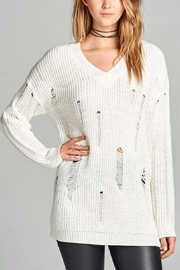 Active Basic Ivory Distressed Sweater - Front cropped