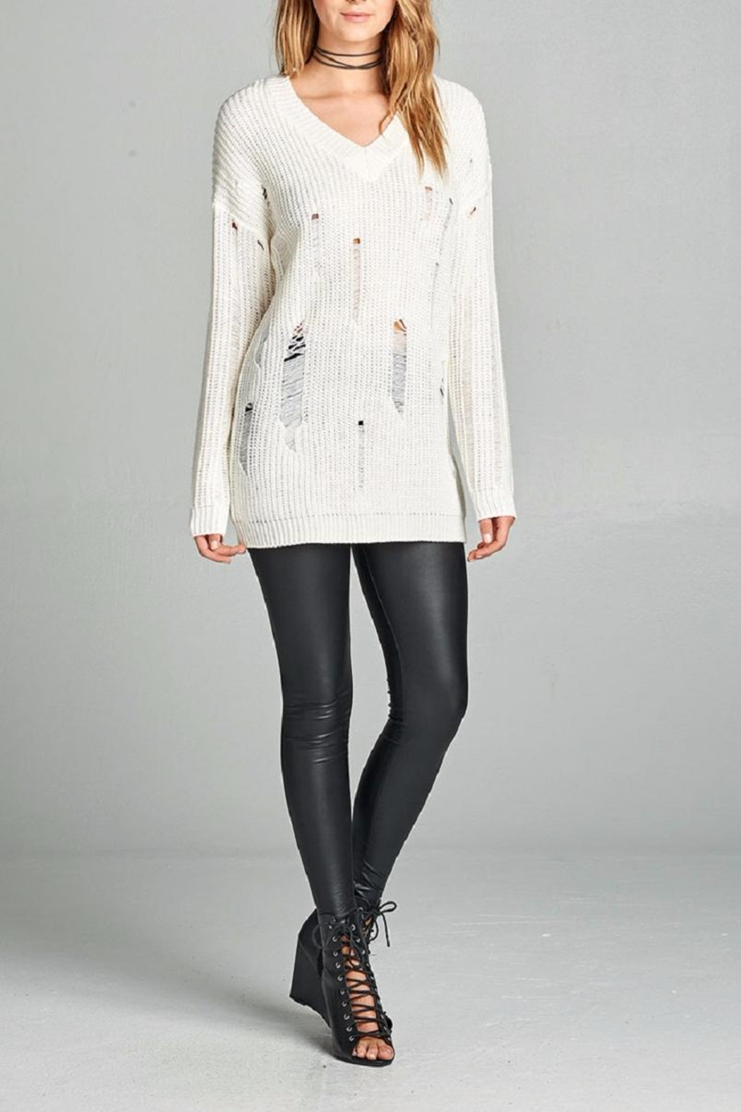 Active Basic Ivory Distressed Sweater - Front Full Image