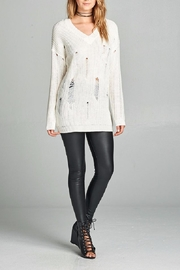 Active Basic Ivory Distressed Sweater - Front full body