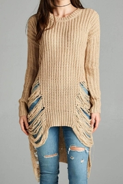 Active Basic Khaki Frayed Sweater - Product Mini Image