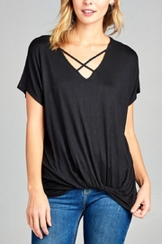 Active Basic Knotted-Waist Cross-Neck Tee - Product Mini Image
