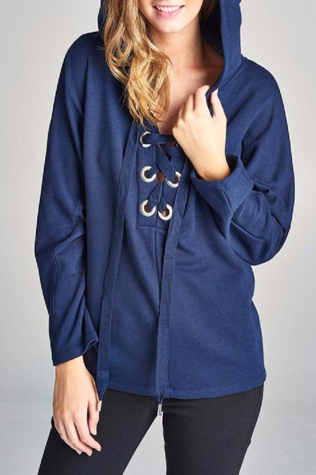 Active Basic Lace Up Dolman Hoodie - Main Image