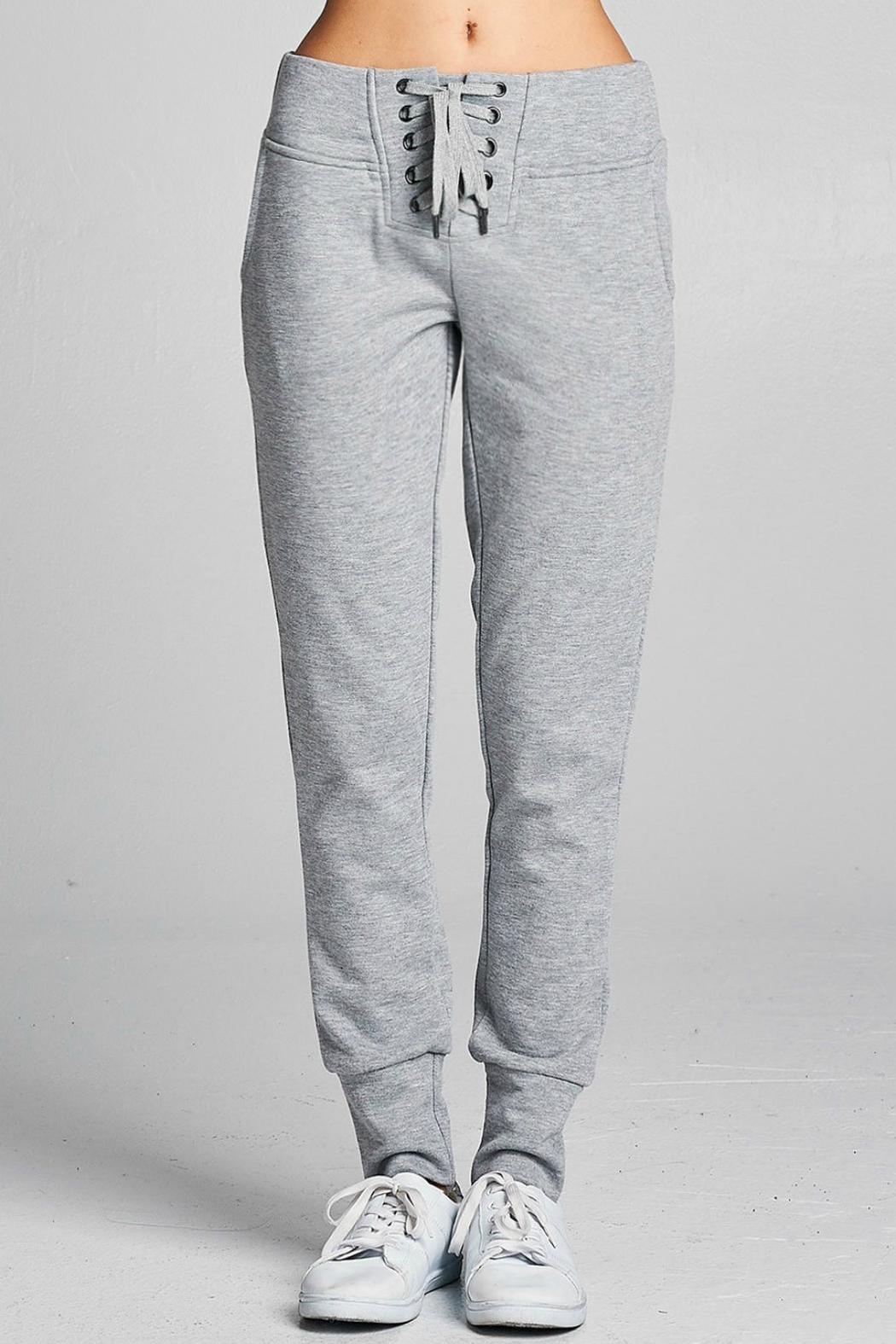 Active Basic Lace Up Joggers - Front Cropped Image