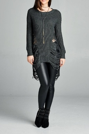 Active Basic Long-Sleeve Frayed Sweater - Front full body