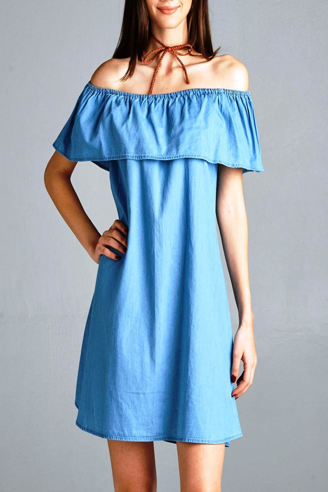 Active Basic Off Shoulder Denim Dress - Front Cropped Image