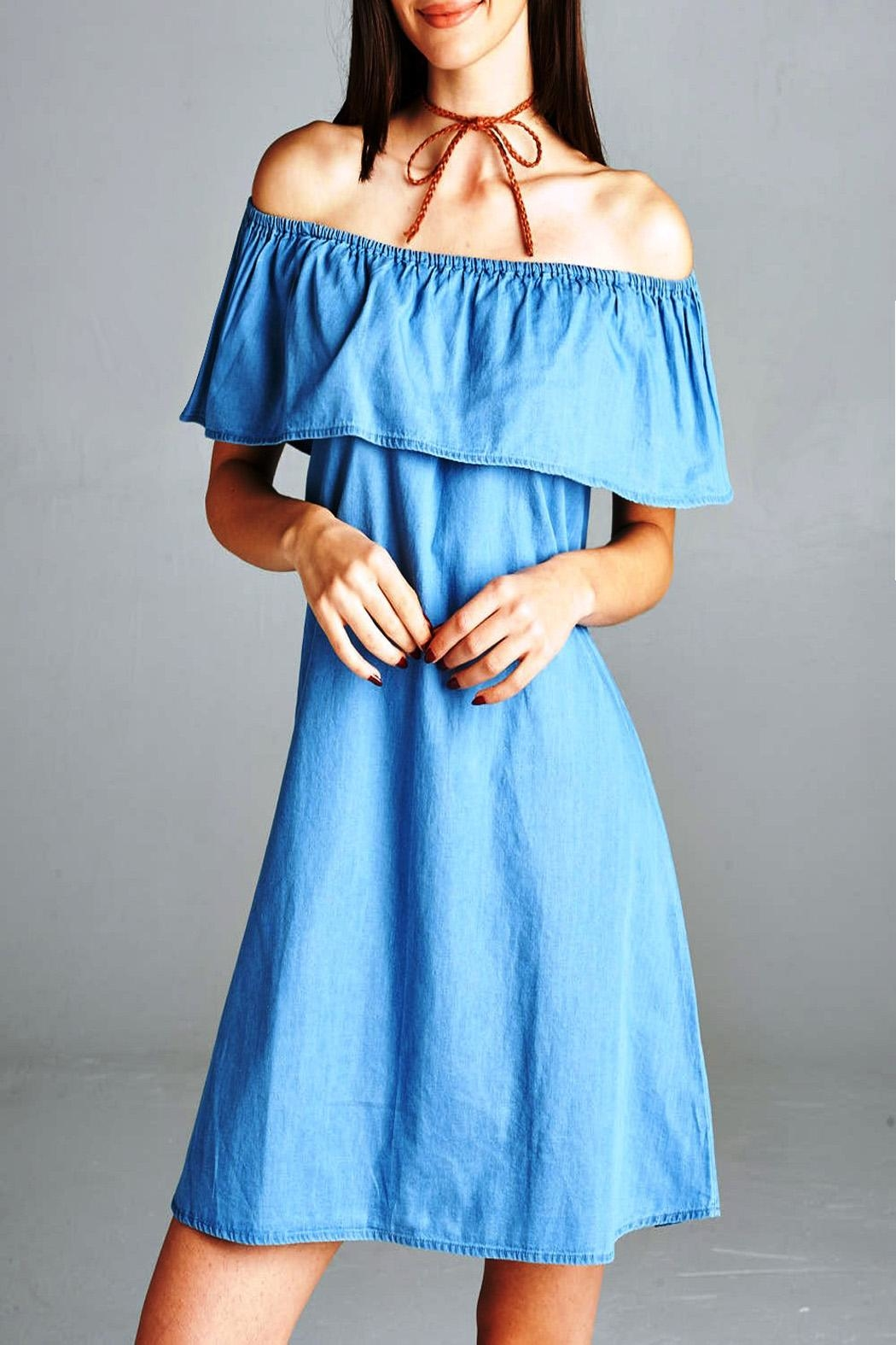 Active Basic Off Shoulder Denim Dress - Side Cropped Image