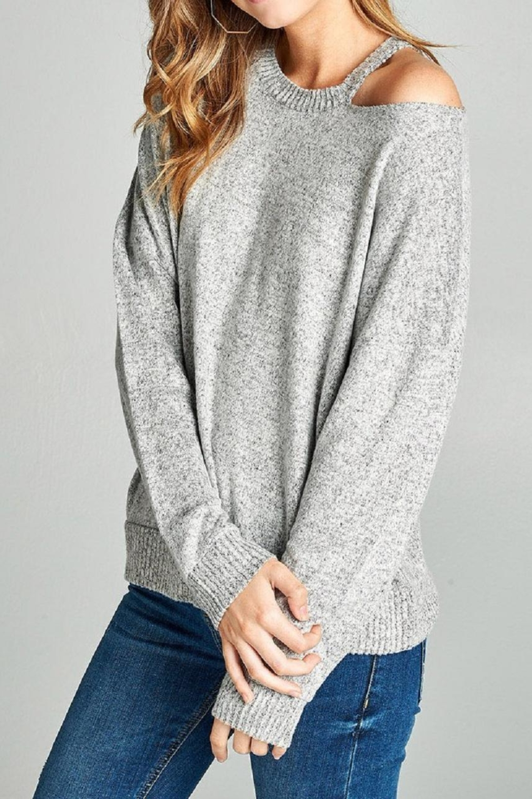 Active Basic Open Shoulder  Hacci-Top - Side Cropped Image