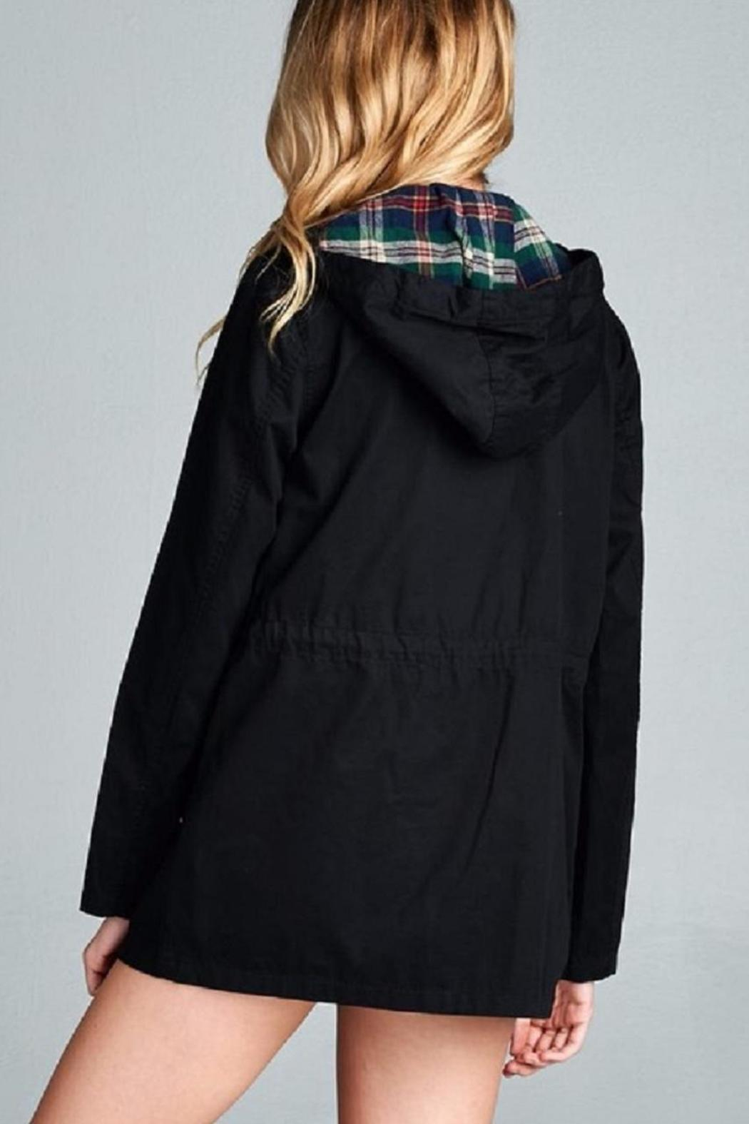 Active Basic Plaid Hood Utility Jacket - Front Full Image