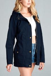 Active Basic Plaid Hood Utility Jacket - Front cropped