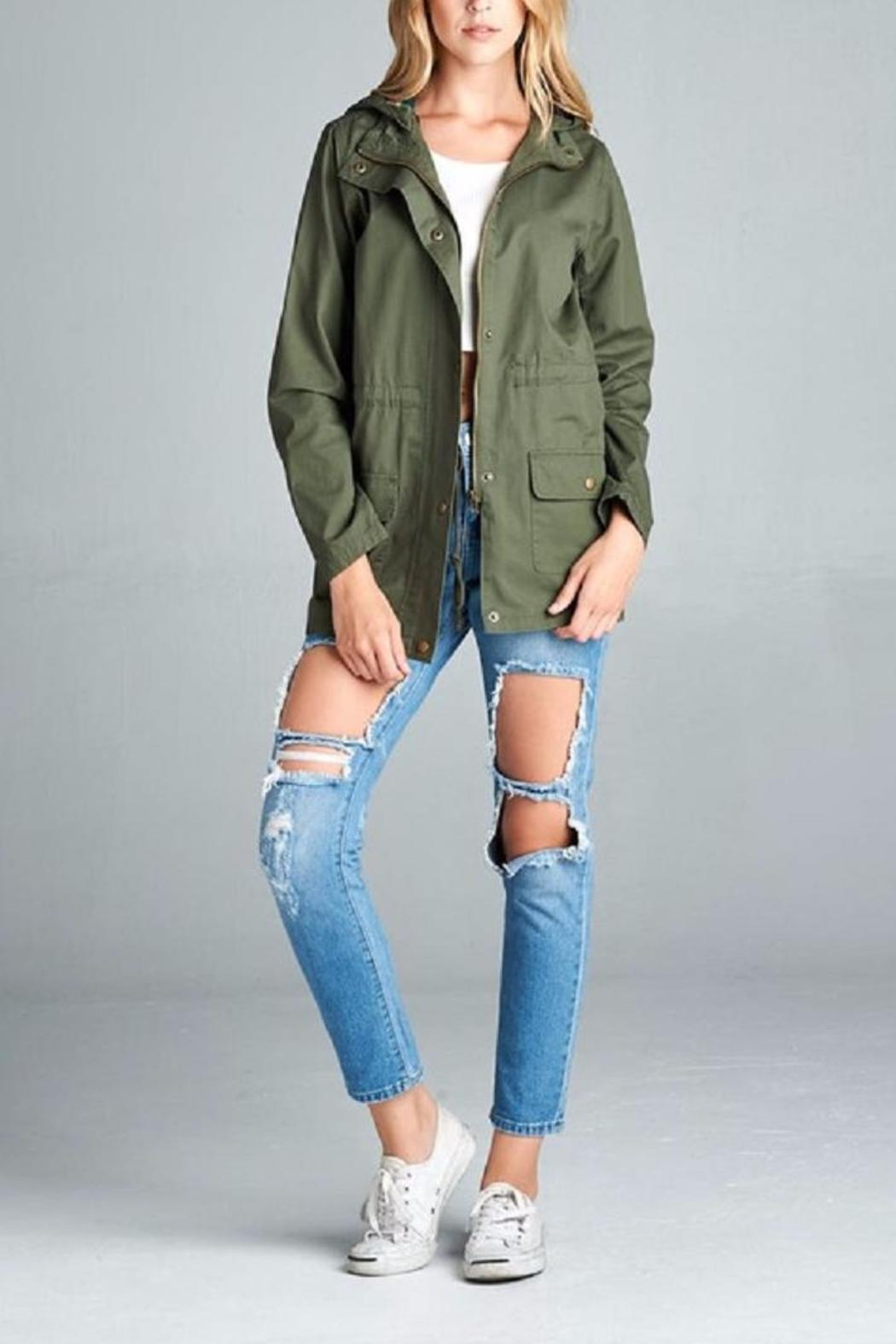 Active Basic Plaid Hood Utility Jacket - Front Cropped Image