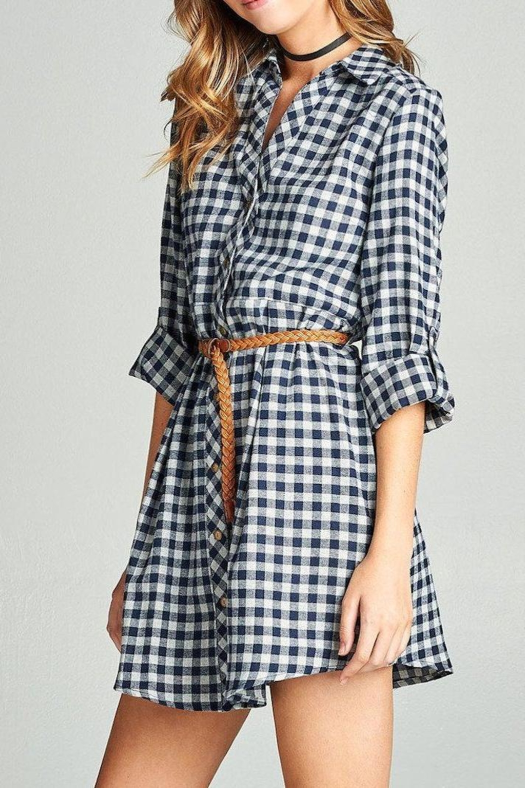 Active Basic Plaid Shirt Dress - Front Full Image
