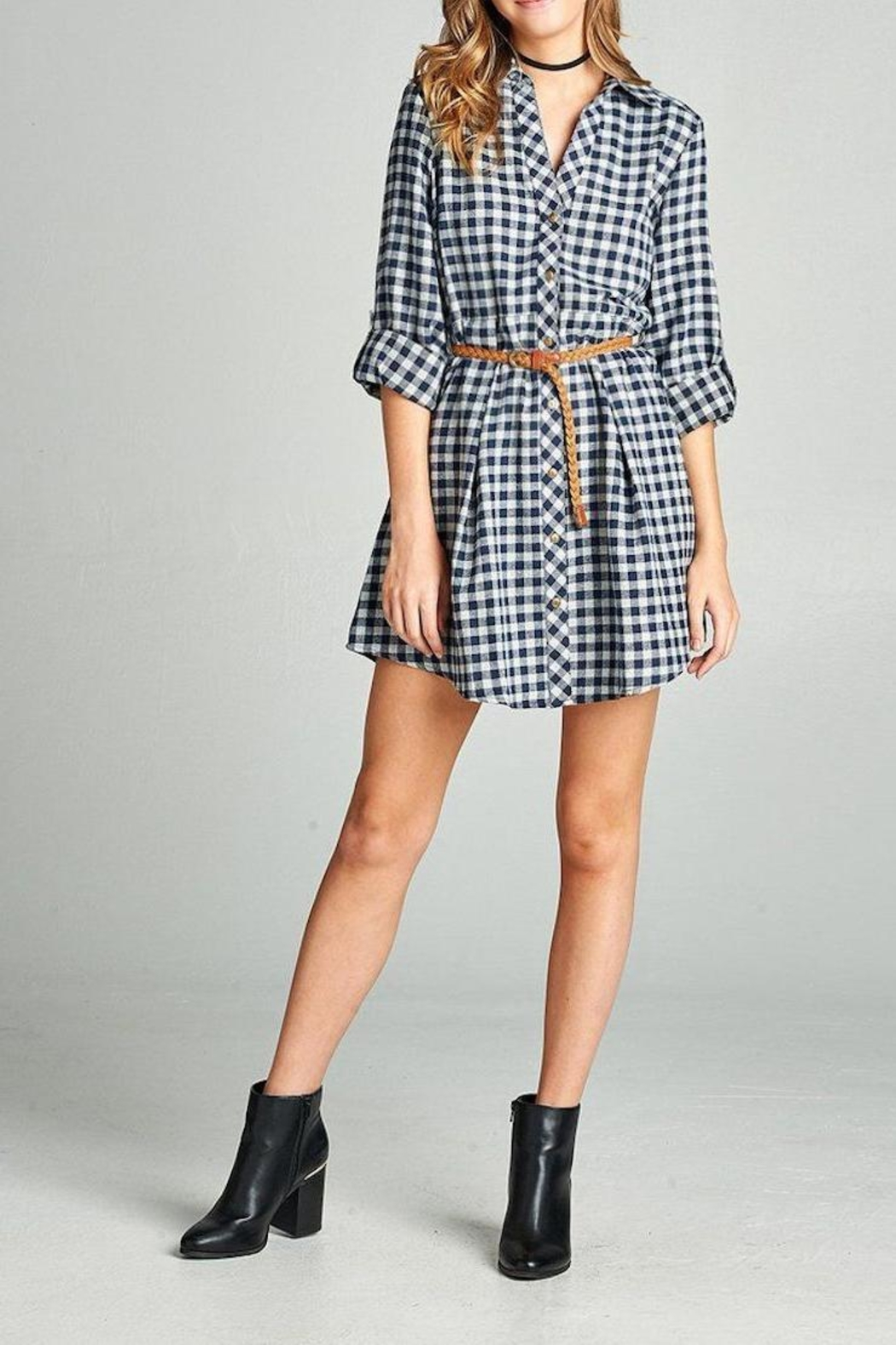 Active Basic Plaid Shirt Dress - Main Image