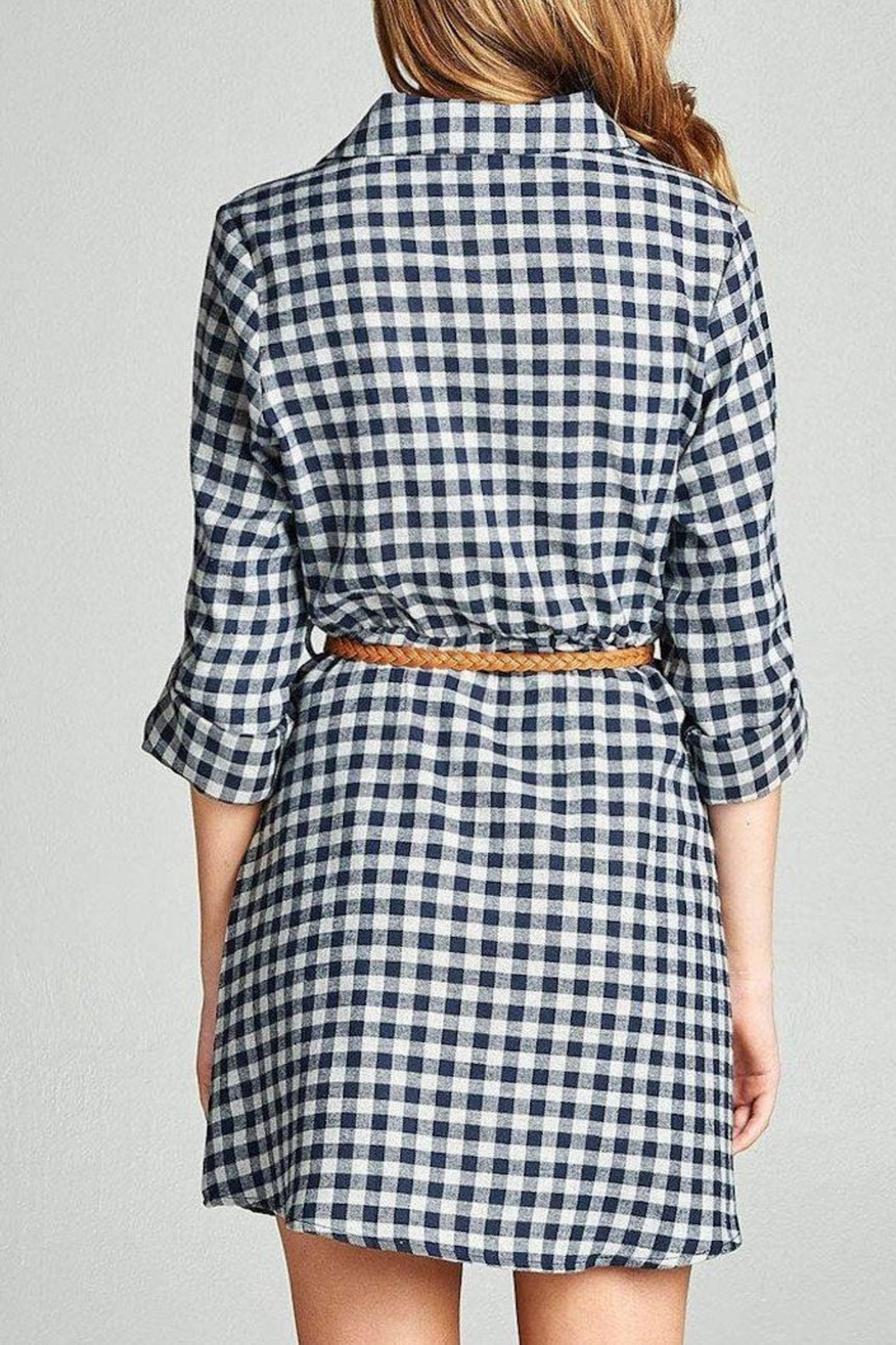 Active Basic Plaid Shirt Dress - Side Cropped Image