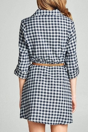 Active Basic Plaid Shirt Dress - Side cropped
