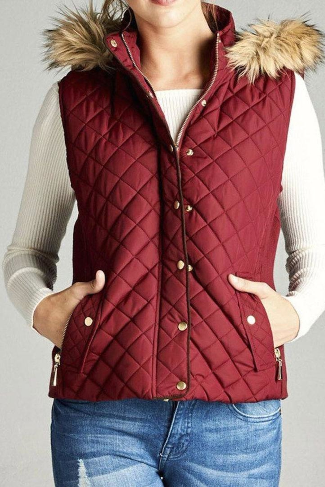 Active Basic Quilted Fur Vest - Front Cropped Image