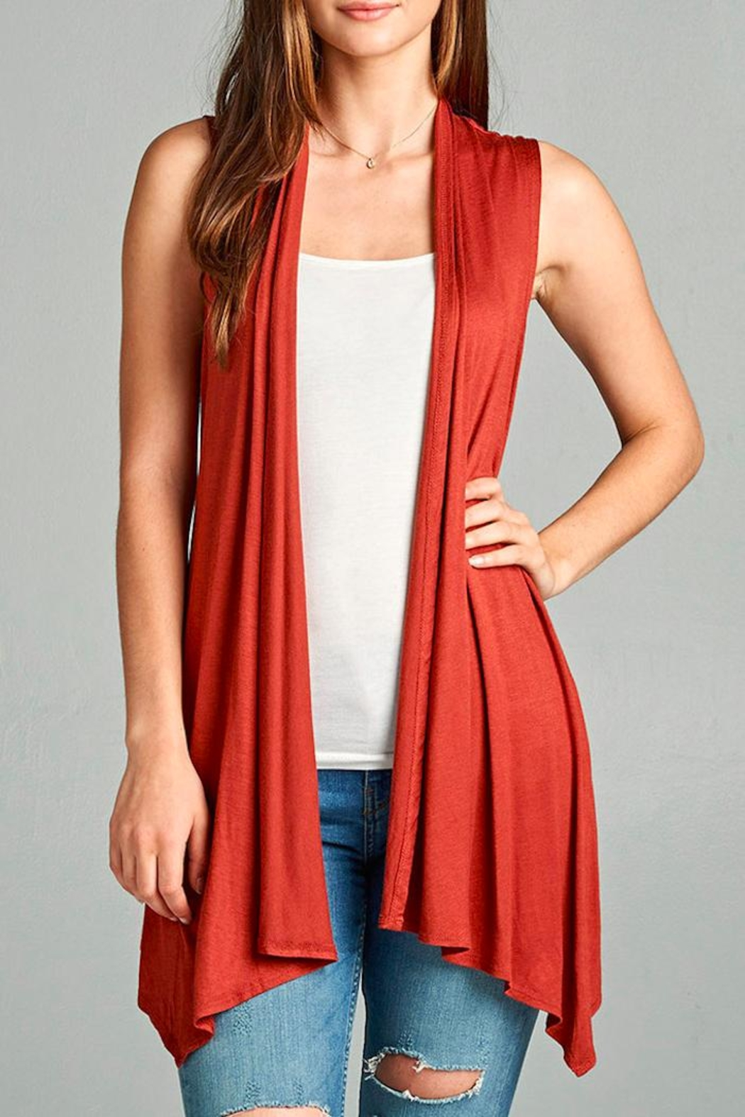 Active Basic Rust Cardigan Vest - Front Cropped Image