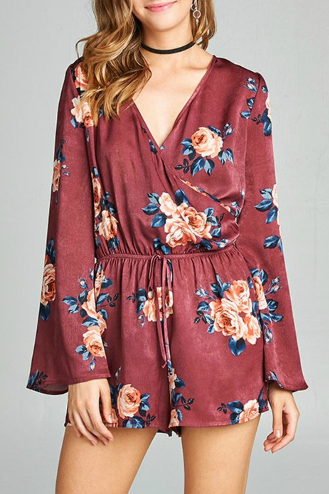 Active Basic Satin Floral Romper - Main Image