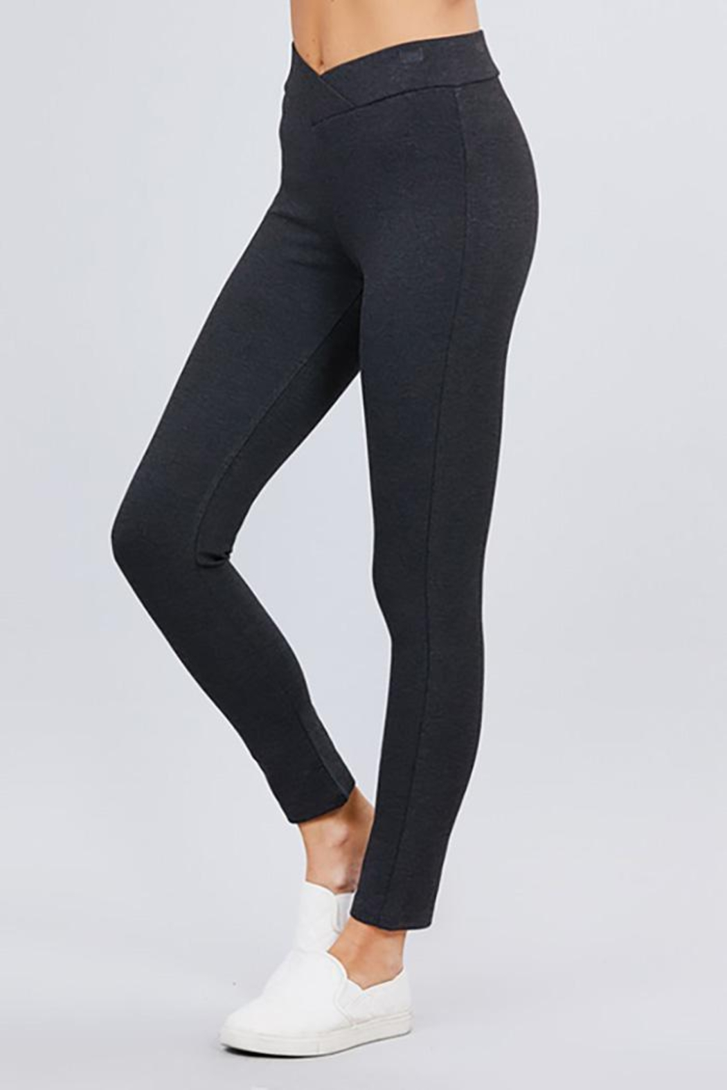 Active Basic Seagull Shaped Elastic Waist Skinny Ponte Pants - Front Cropped Image