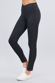 Active Basic Seagull Shaped Elastic Waist Skinny Ponte Pants - Front cropped