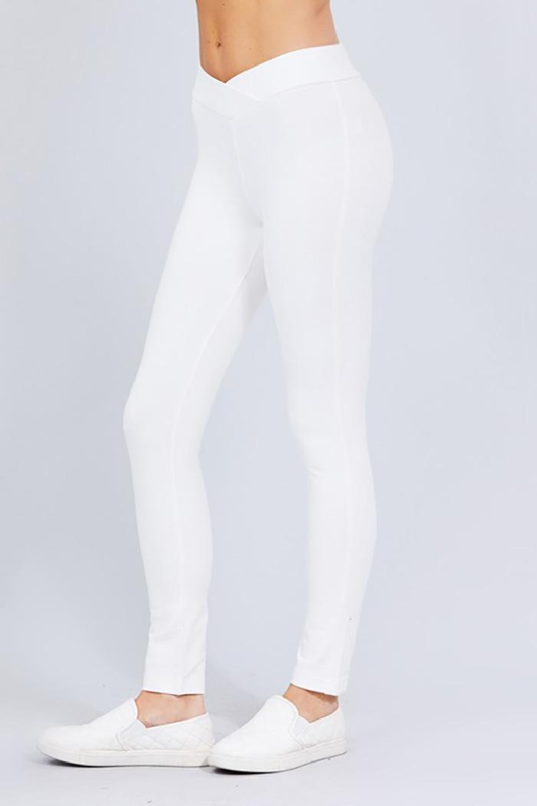 Active Basic Seagull Shaped Elastic Waist Skinny Ponte Pants - Main Image